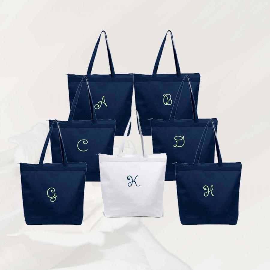 Wedding - Personalized Zippered Tote Bag Bridesmaid Gift Set of 2, Embroidered Tote, Monogrammed Tote, Bridal Party Gift, Wedding Favor Tote