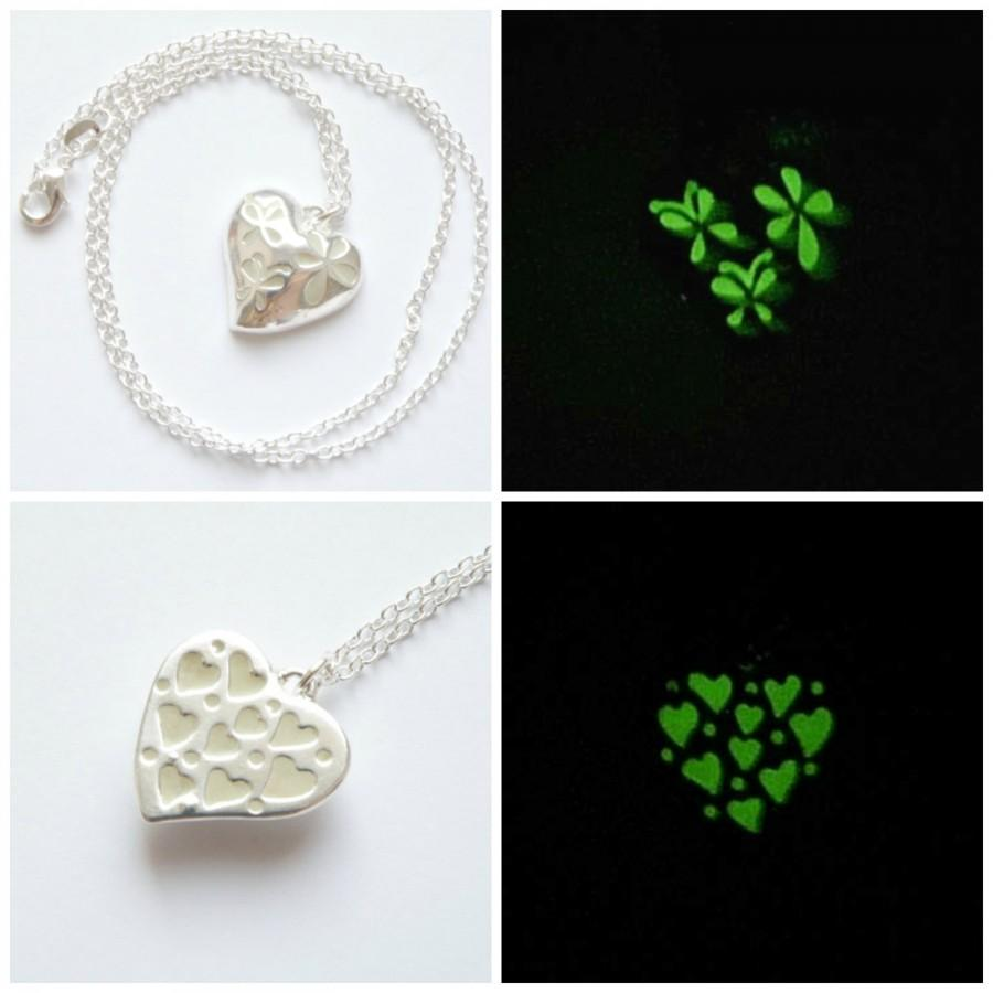 Two Sided Glowing Heart Pendant With Small Butterflies And Flowers Necklace Girlfriend Gift Best Friend Birthday Sister