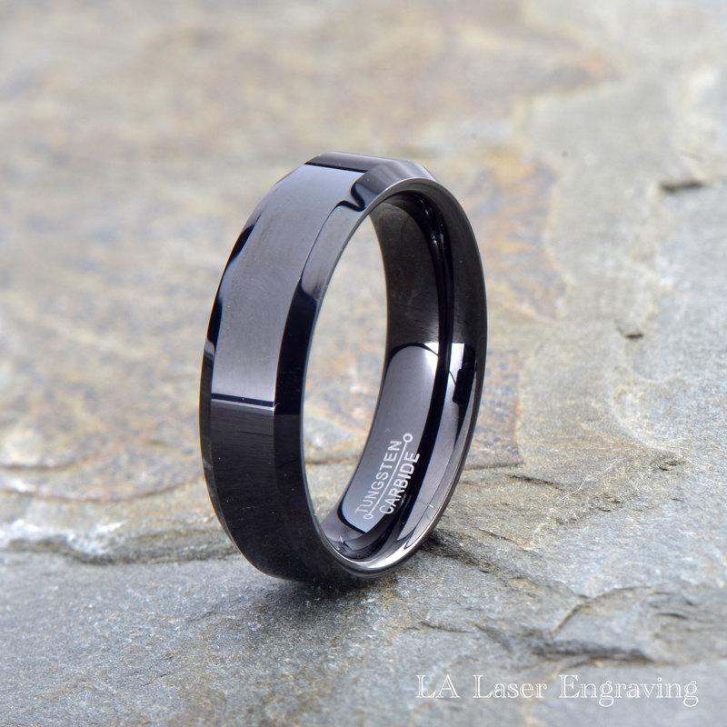 زفاف - Tungsten Wedding Band, Black Tungsten Ring, Polished Tungsten Carbide, Polished Beveled Edges, Custom Laser Engraving, His, Hers, 6mm,