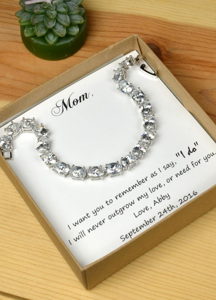 Personalized Bridesmaids GiftMother Of The Groom GiftsBridal Party Gift Bridal JewelryWedding BraceletMomMother Bride