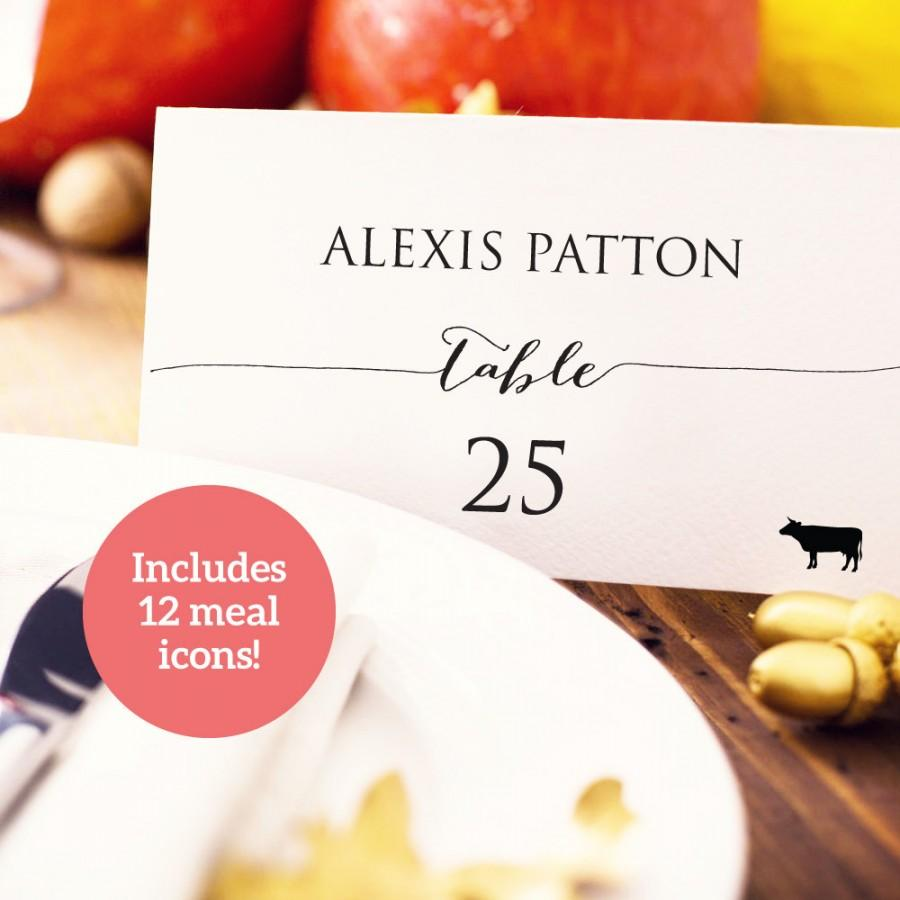 Wedding Place Card With Meal Icons Template Diy Editable Food Icon Seating Menu Printable Cards