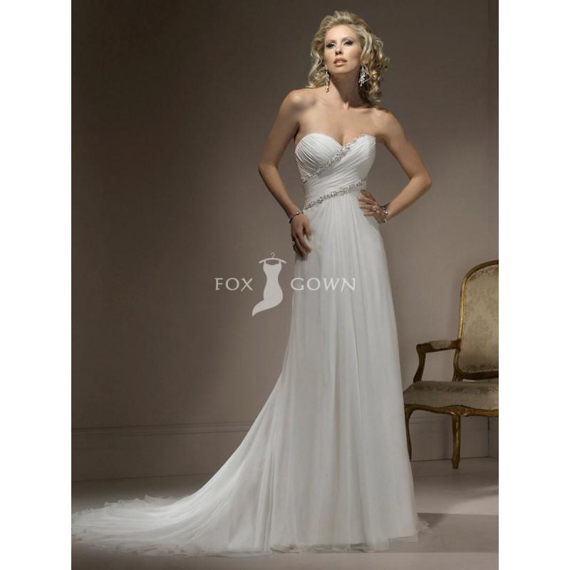 Wedding - Schlanke Linie Chiffon-Hochzeitskleid mit Sweetheart Ausschnitt Perlen Mieder und Sweeping Train - Festliche Kleider