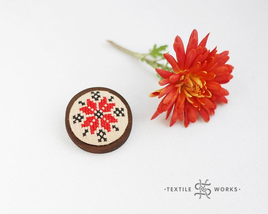 Düğün - Nordic Star Embroidered Brooch On Vintage Fabric. Cross Stitch Brooch. Textile Eco Wooden Jewelry. Ethnic Symbol Alatyr. Christmas Gift