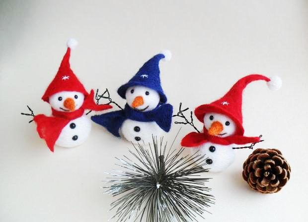 Felted Snowman Set Christmas Decoration Wool Snowmen Christmas