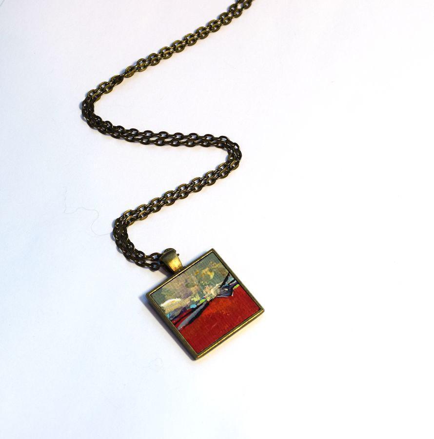 زفاف - One of a Kind Art Necklace , SALE, One of a Kind, Original Painting, Pendant , Stocking Stuffer, Wearable Art, Red, Necklace, Handpainted