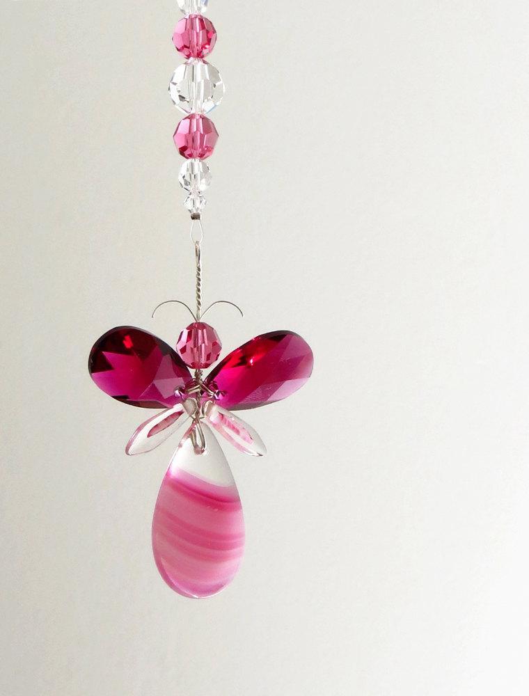 زفاف - Christmas Angel Ornament Gift for Mom Crystal Suncatcher Cute Rear View Mirror Charm Holiday Womens Gift Car Decor Accessories Window Charm