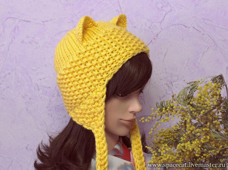 زفاف - Yellow Cat Hat, Knit Cat Ears Hat or Cat Beanie, Womens Cat Hat, art. 49