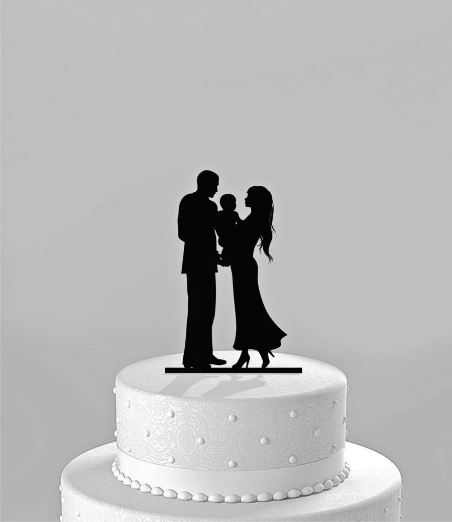 Mariage - SALE PRICE! plus Next Day Shipping! Silhouette Bride & Groom holding baby -  Family Cake Topper, BLACK Acrylic [CT64c]