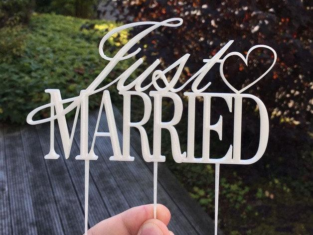 Mariage - Just Married Cake Topper