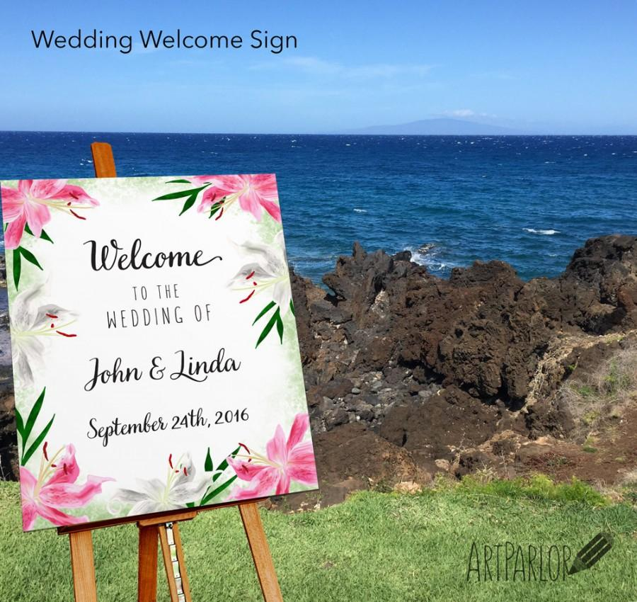 Mariage - Stargazer Lily Flower Wedding Welcome Sign, Large Flower Wedding Sign, Custom Wedding Sign, Welcome to our Wedding Printable,DIGITAL FILE