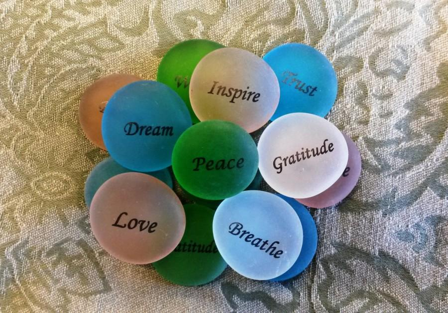 Mariage - SET OF 15 pieces- Inspirational Printed Word Sea Glass Pebbles