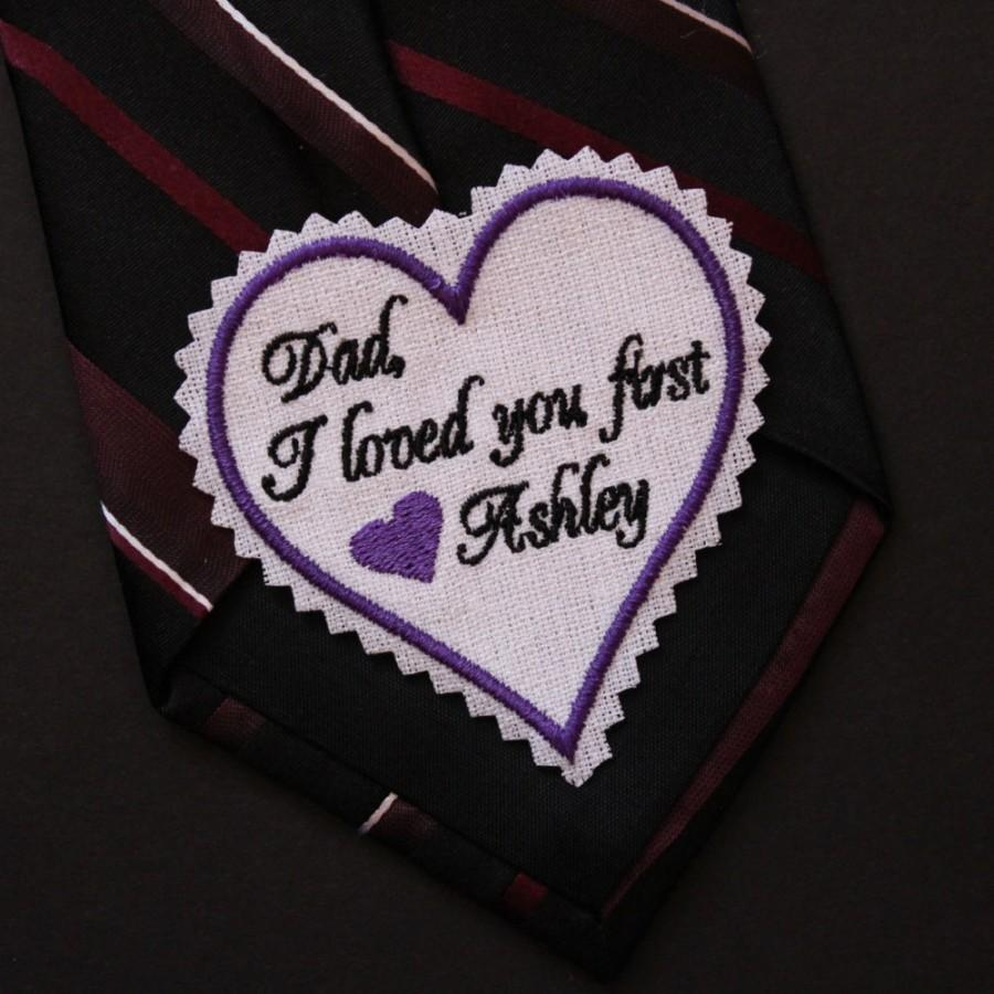 Mariage - Wedding Tie Patch, Dad, I loved you first - Father of the Bride tie patch, Tie label, note, Personalized Tie patch heart shaped, Canada
