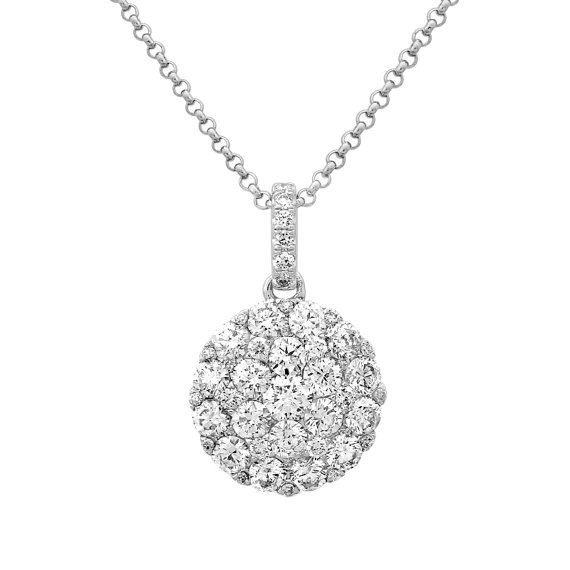 Свадьба - Black Friday SALE, 1.10 Carat Diamond Cluster Pendant 14k White Gold, Diamond Necklaces for Women, 1 Carat Diamond Pendant, Anniversary Gift