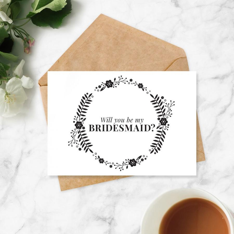 will you be my bridesmaid printable card instant download wedding bridesmaid proposal. Black Bedroom Furniture Sets. Home Design Ideas