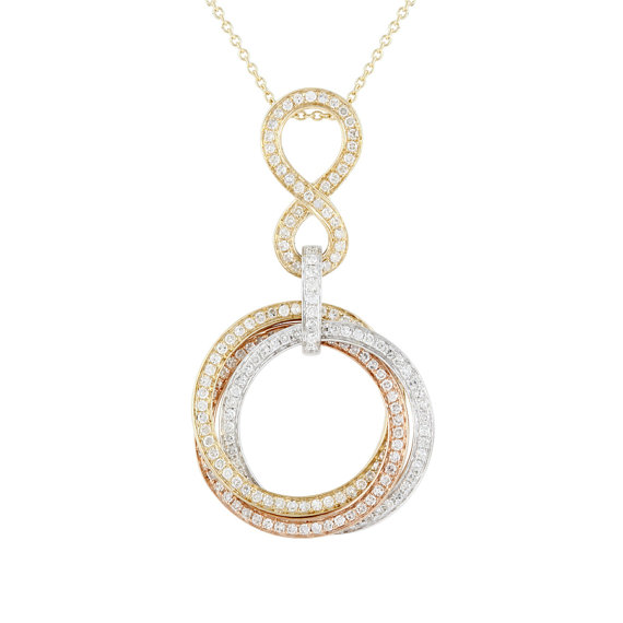 Wedding - 14k Tri-Color Rose, White, & Yellow Gold Infinity and Circle Trio Pendant Necklace, Black Friday SALE, Anniversary Gifts for Women, Jewelry