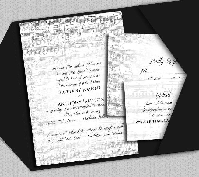 Wedding - Music Invitation Template - DIY Vintage Music, piano, Rachmaninoff, romantic recital concert template cheap NRDIY-22924