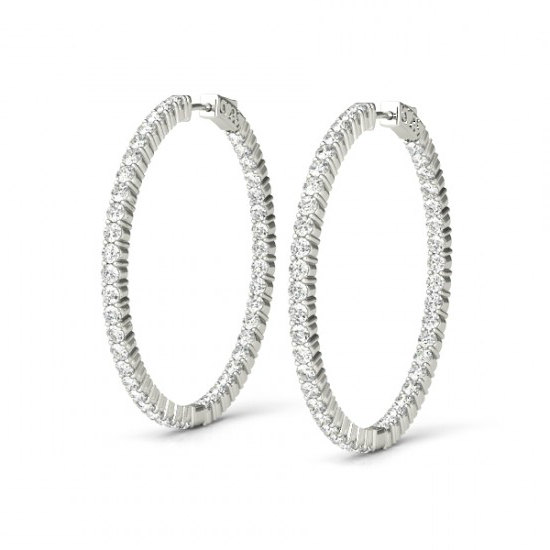 c762b5238 1.00 Carat Diamond Hoop Earrings for Women 14k White Gold, Anniversary  Gifts, Black Friday Cyber Monday Deal, Christmas Gifts for Women 23mm