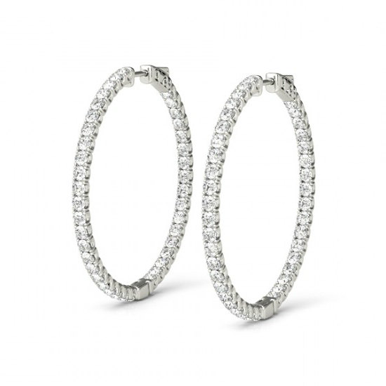 d03fd0b88 Diamond Hoop Earrings for Women 14k White Gold 0.60 CTW (24mm), Anniversary  Gifts, Black Friday Cyber Monday Deal, Christmas Gifts for Women