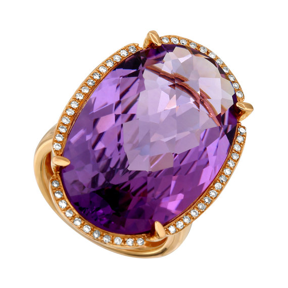 Hochzeit - Black Fridy SALE, 27.00 Carat Oval Amethyst & Diamond Halo 14k Rose Gold Cocktail Ring, Anniversary Gifts for Women, Cyber Monday Deals