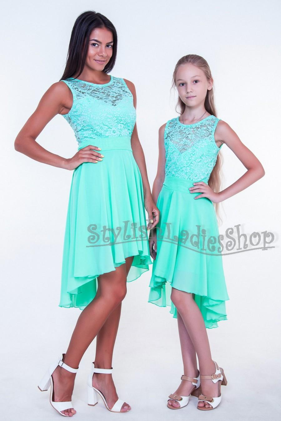 Mint Bridesmaid Dress Lace Bridesmaid Dress Chiffon Bridesmaid Dress ...