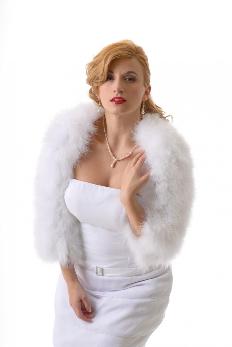 Свадьба - SALE 50% OFF: White Bridal Marabou Shrug /Size XS