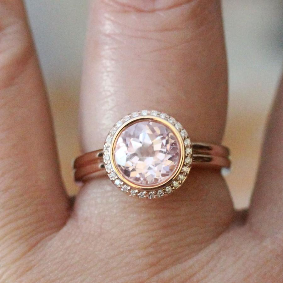 Mariage - Kunzite 14K Rose Gold Ring, Kunzite And Diamond Ring, Engagement Ring, Gemstone Ring, Stacking Ring, Anniversary Ring - Made To Order