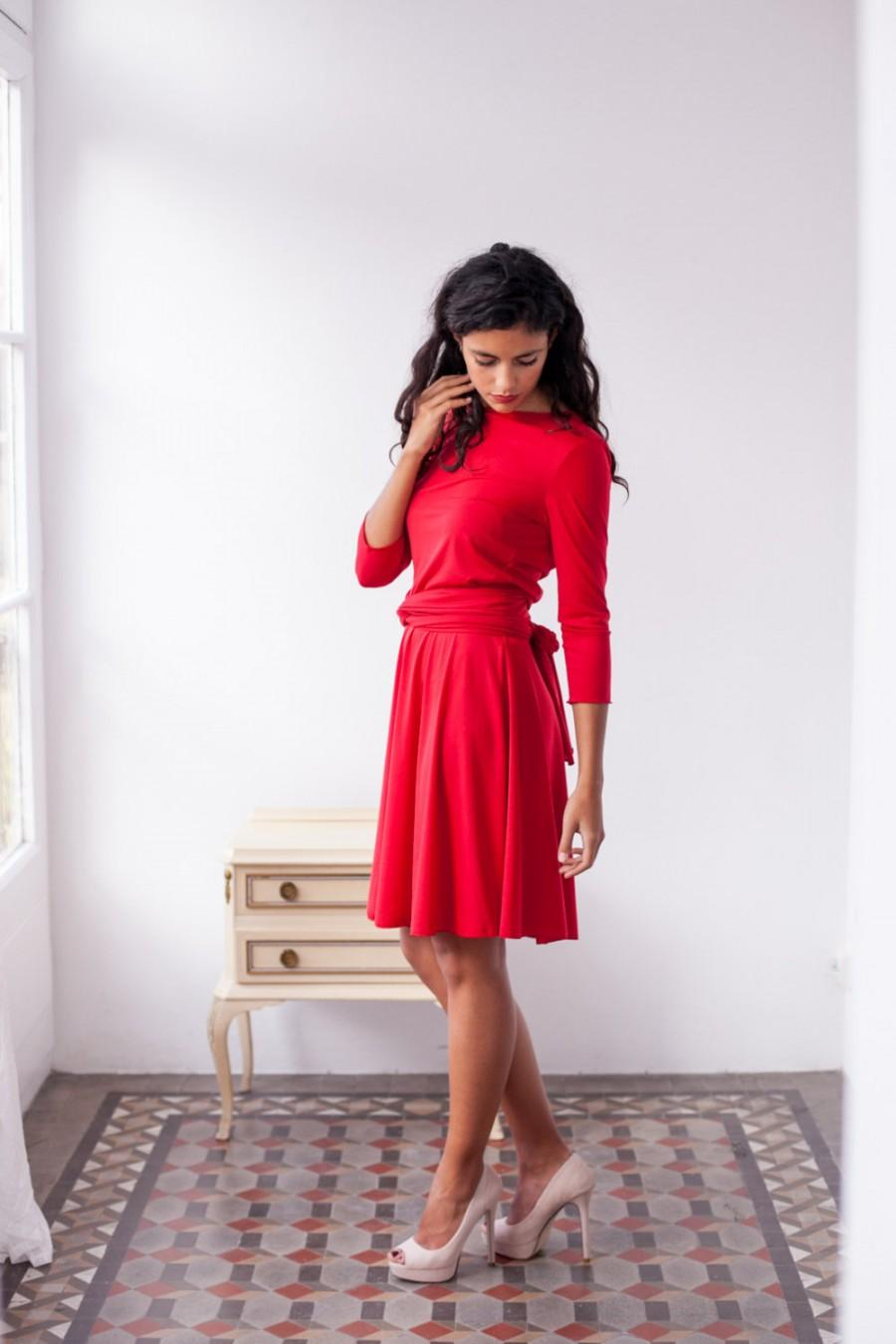 Short red dress red wrap dress red dress with sleeves short red dress red wrap dress red dress with sleeves bridesmaid dress red party dress convertible dress 34 sleeve dress long sleeve ombrellifo Choice Image
