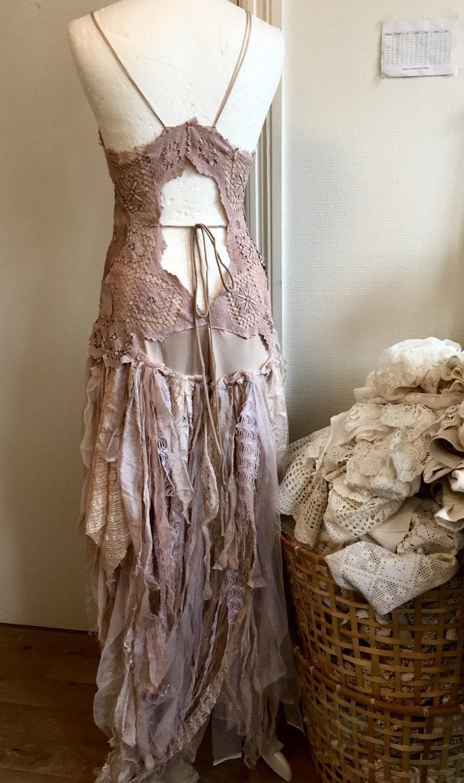 Mariage - Wedding dress alternative,gypsy wedding wonder, bridal gown,beach wedding fairy look, open back wedding dress,boho wedding dress,rawrags