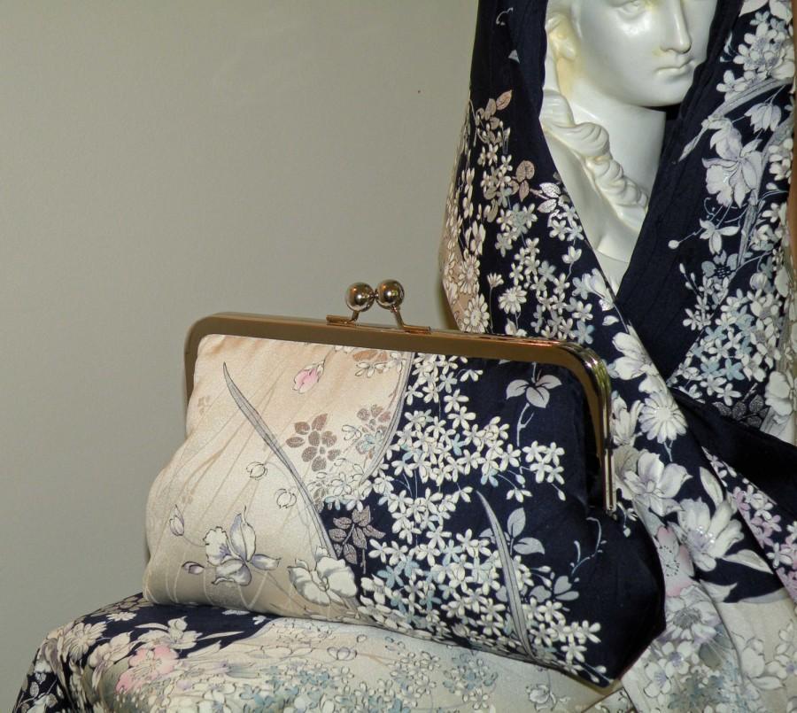 زفاف - Vintage Silk Kimono Fabric Clutch/Purse/Bag..Bridal Gift..Cherry Blossoms..Orchids..Rose..Midnight Blue/Ivory..Wrap/Shawl..Wedding/Birthday