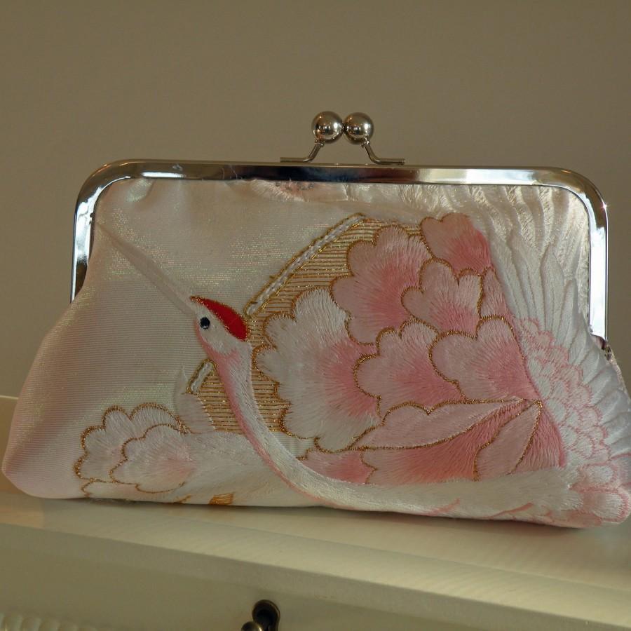 زفاف - Silk Kimono Fabric Bag/Purse/Clutch..Embroidered Crane..Chrysanthemum..Long Island Bridal/Wedding Gift..Ivory/Pink..Free Monogram