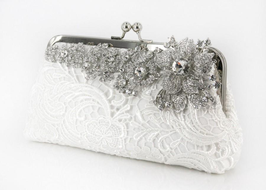 Mariage - Ivory Bridal Lace Clutch with Rhinestone Lace Brooch 8-inch LHERITAGE II etsygift