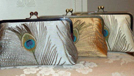 Mariage - Embroidered Silk Peacock Feathers Bridal Clutch/Purse/Bag..Bridal/Bridesmaid Gifts..Free Monogramming