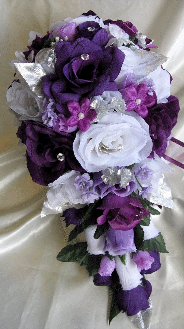 """Mariage - Wedding Bouquet Bridal Silk flowers Cascade PLUM PURPLE SILVER 17 pcs package Artificial bouquets decorations Centerpieces """"RosesandDreams"""""""