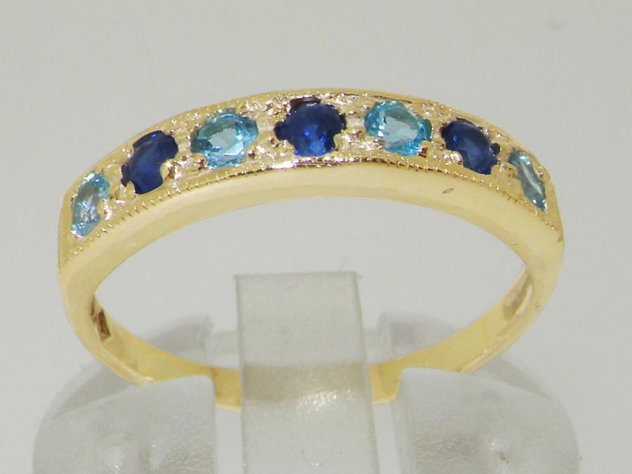 Mariage - 14K Solid Yellow Gold Natural Light Blue Sapphire & Blue Topaz Romantic Half Eternity Band, Anniversary Ring - Made in England -Customizable