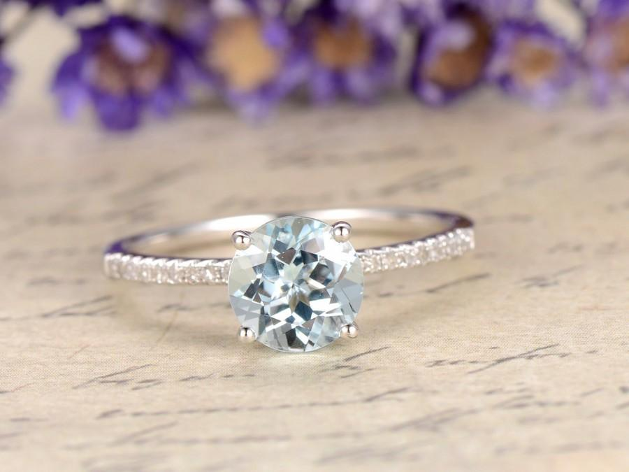 Mariage - Aquamarine engagement ring with diamond,Solid 14k White gold, classic design,promise ring,bridal,6.5mm Round cut custom made fine jewelry