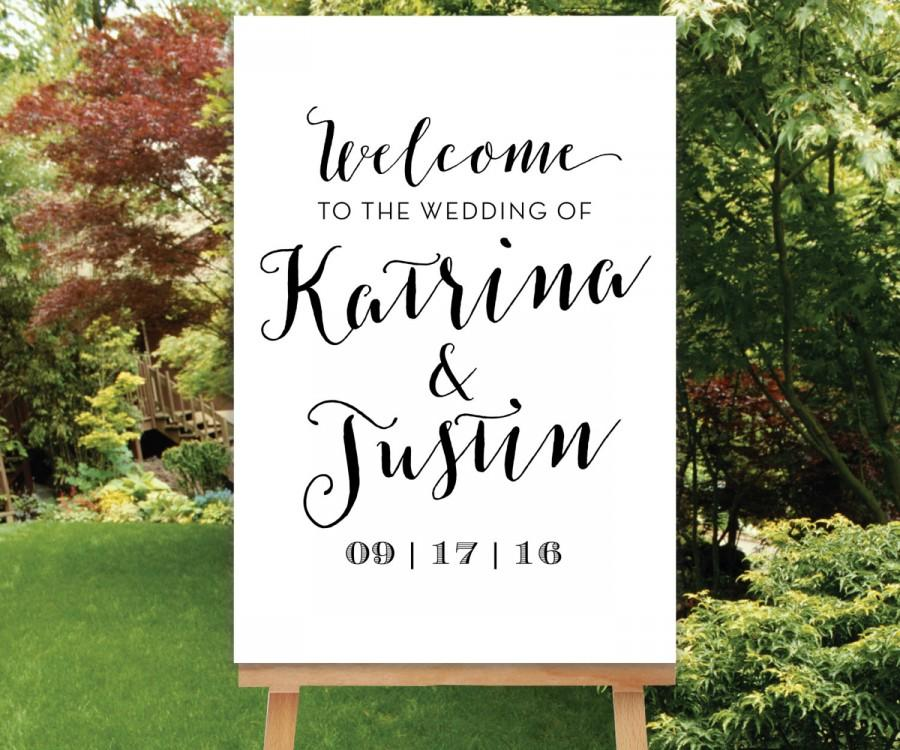 Mariage - Printable Wedding Welcome Sign, Simple Large Wedding Sign Reception Entrance Sign Black White, Digital Sign PDF OR JPG, The Sophie