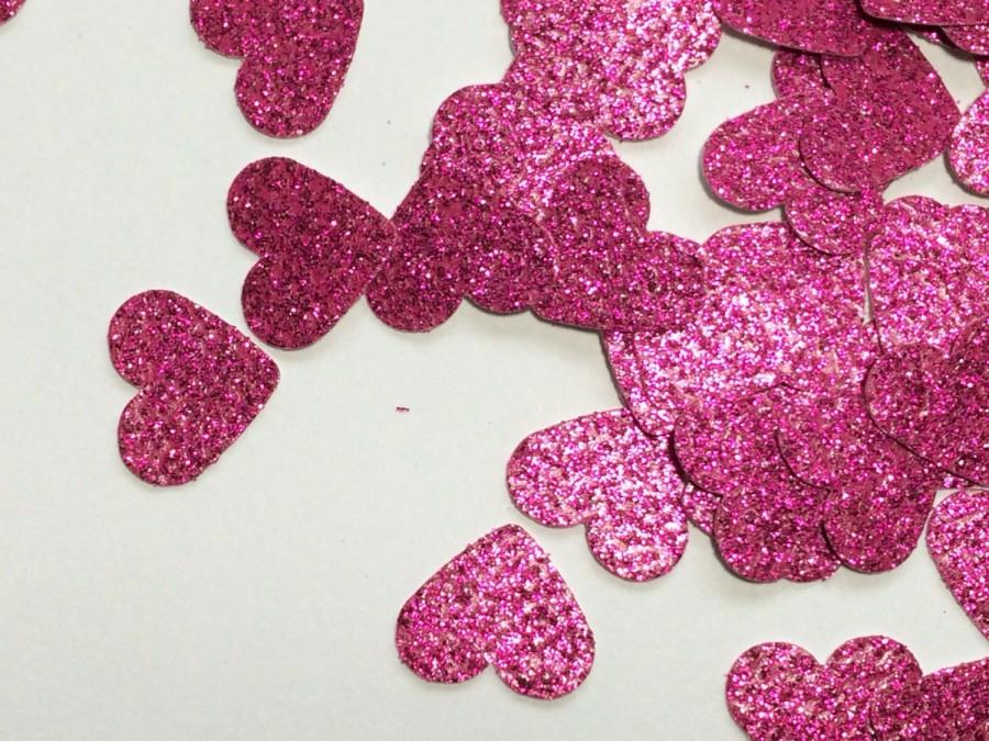 Mariage - Pink Glitter Heart Table Scatter, Heart Confetti, Pink Heart Die Cut, Valentines Day Wedding Decor, Heart Decoration - 150pcs