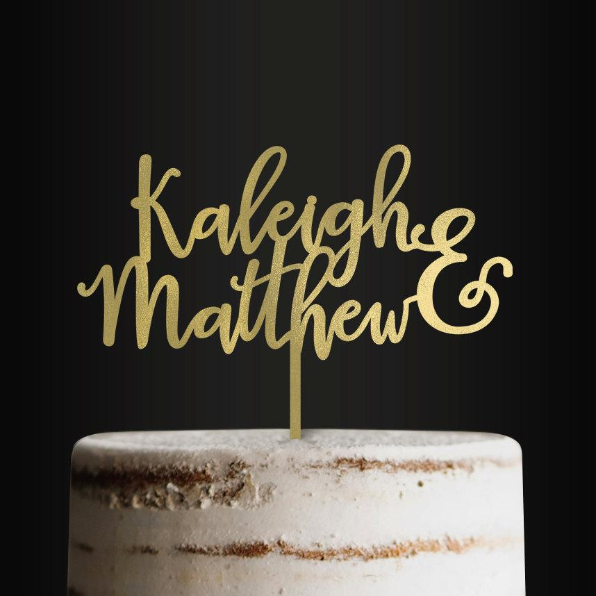 Mariage - Personalized Wedding Cake Topper, First Names, Bride and Groom, Custom Cake Topper, Customizable Cake Topper