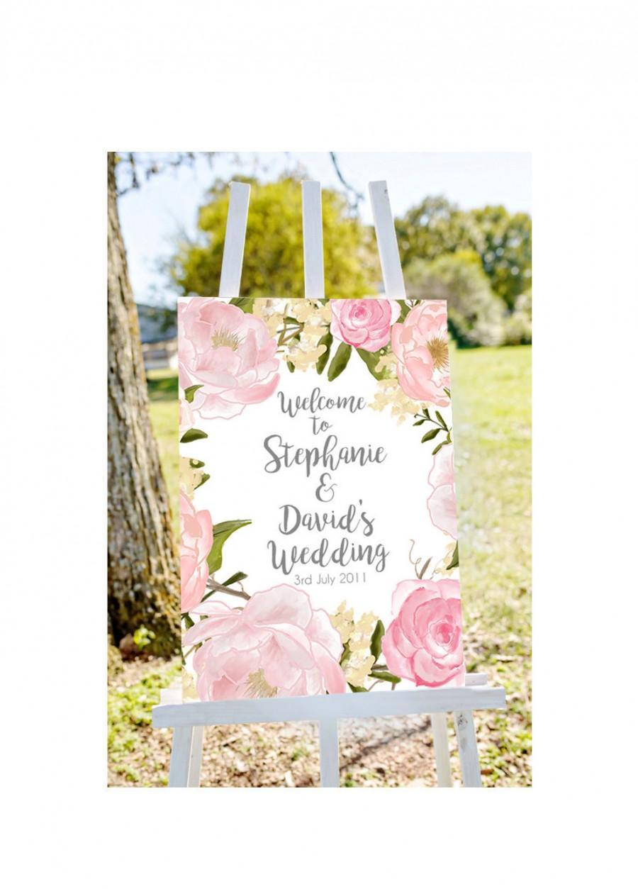 Mariage - Welcome to wedding sign, PRINTABLE, custom Wedding Sign, floral Wedding Sign, welcome to our Wedding Sign, personalized wedding sign