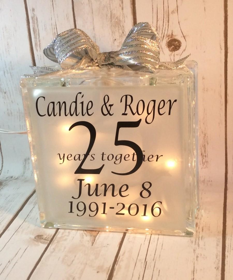 Anniversary Lighted Glass Block Wedding Table Centerpiece Gift For