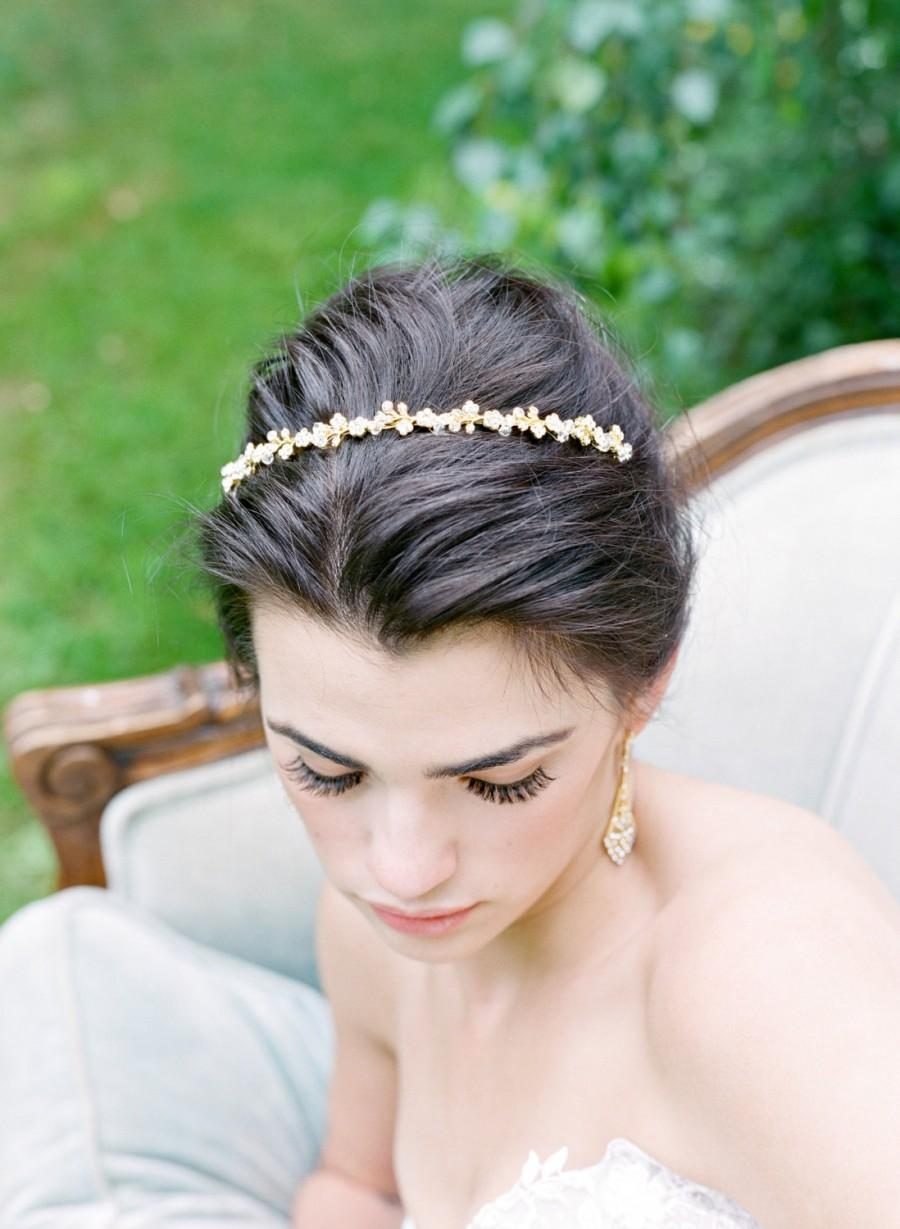 Hochzeit - Crystal Thin Bridal Headband MINA Swarovski Bridal Tiara Thin Crystal Headband Silver Wedding Headband Gold Headband Silver Tiara Headband
