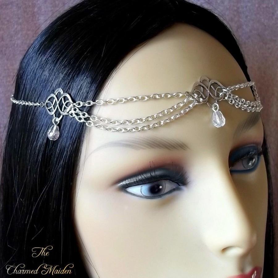 Свадьба - Crystal Celtic Circlet, Silver Medieval Circlet, Silver Renaissance Circlet, Medieval Headpiece, Renaissance Bride,Crystal Wedding Headpiece