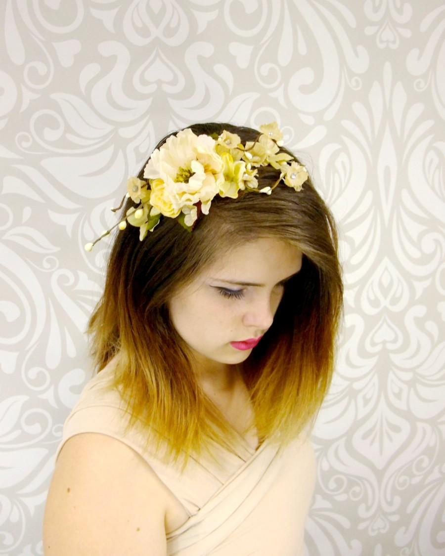 زفاف - Bridal Headpiece, Ivory Rustic Flower Crown, Vintage Flower Headband, Boho Headband, Cream Bridal Headband, Woodland Wedding, Boho Wedding