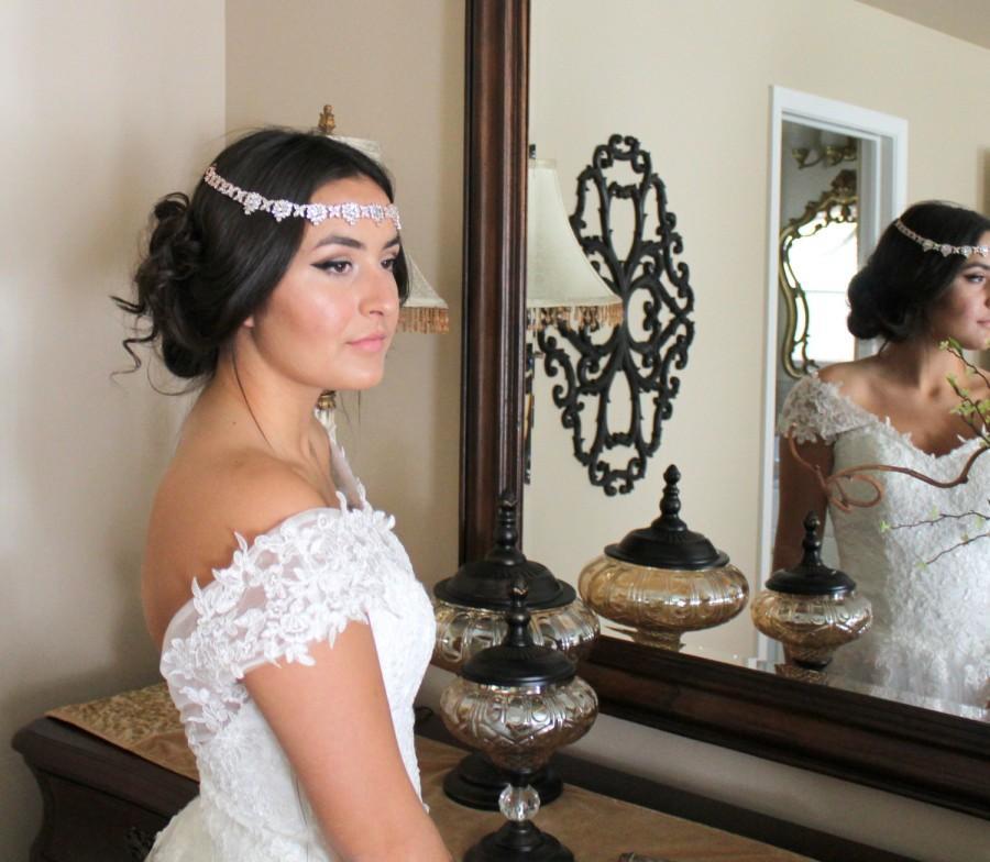 Mariage - Bridal forehead band, Bridal tiara, Wedding headpiece, Bridal headband, Wedding circlet, Crystal headpiece, Couture headpiece, Crown CHLOE