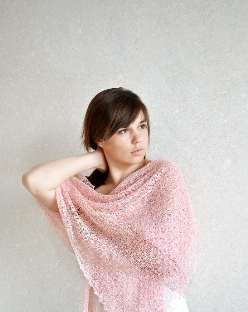 Mariage - Pale Pink Scarf Linen Scarf  Lace Shawl Sheer Wrap Bridemaids Stole Knitted Gauzy Scarf
