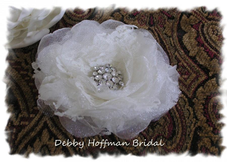 Mariage - Bridal Hair Flower, Wedding Hair Flower, Jeweled Floral Hair Comb, Bridal Flower Hair Clip, Wedding Flower Hair Comb, Headpiece, No. 104F4