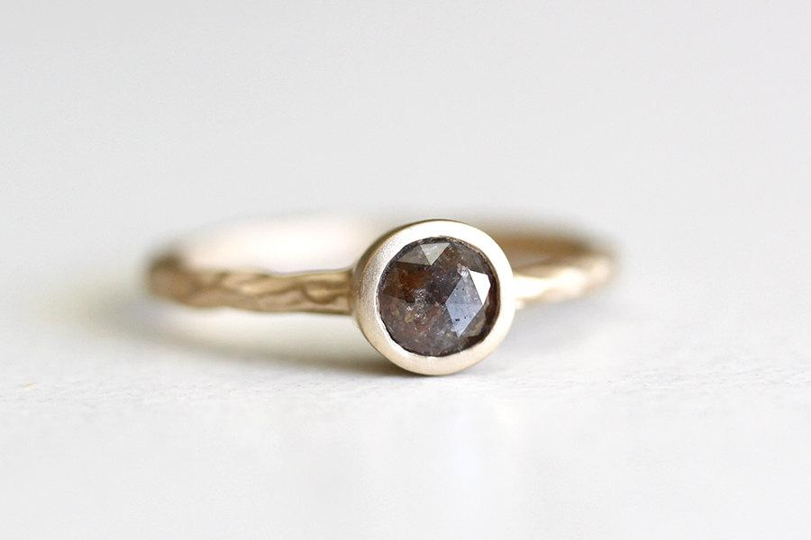 Mariage - 14k yellow gold rustic rose cut diamond engagement ring, brown rose cut diamond, one of a kind, wedding ring