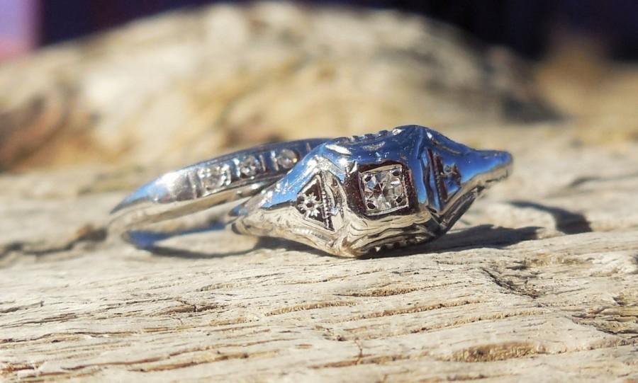 Mariage - Art Deco 1920 Engagement Ring Transitional Cut Diamond Unique Engagement Ring Vintage Antique Diamond 14k White Gold Diamond Wedding Set