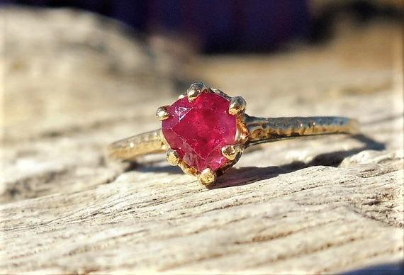 Wedding - Art Deco 1920 Engagement Ring .50ct Natural Ruby Unique Engagement Ring Vintage Antique Engagement Ring 14k Yellow Gold