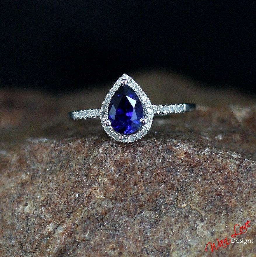 Blue Sapphire Amp Diamond Pear Cut Halo Engagement Ring 1ct